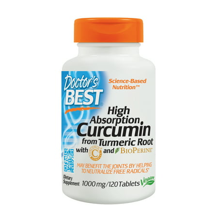 Doctor's Best Curcumin From Turmeric Root with C3 Complex & BioPerine, Non-GMO, Gluten Free, Soy Free, Joint Support, 1000 mg, 120 (Dr Best Curcumin C3 Complex)