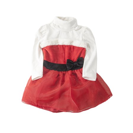 StylesILove - StylesILove Christmas Baby Girl Holiday Turtleneck Santa Dress (18-24 Months) - Walmart.com
