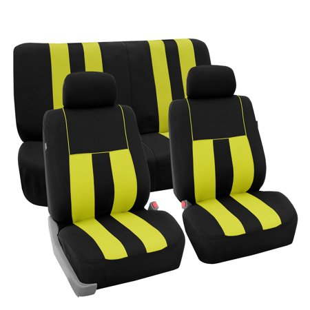 Remarkable Fh Group Striking Striped Seat Covers Fro Auto 2 Headrest Cover Full Set Black And Yellow Lamtechconsult Wood Chair Design Ideas Lamtechconsultcom