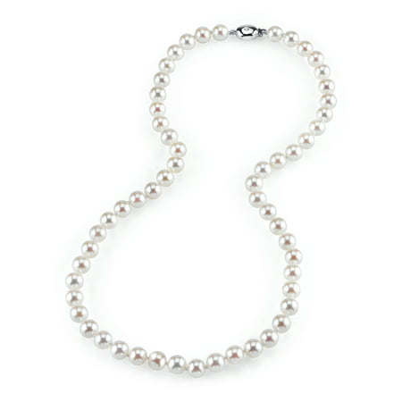 14K Gold Diamond Clasp 6.5-7.0mm Japanese Akoya Saltwater White Cultured Pearl Necklace - AAA Quality, 16""