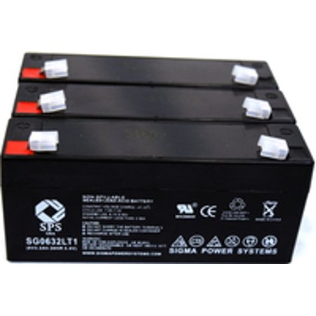Sps Brand 6 V 3 2 Ah Replacement Battery With Terminal T1  For Rigel 309 Multicare Monitor  3 Pack