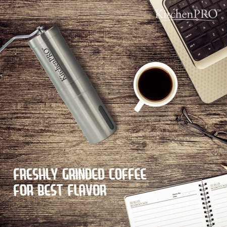 Kitchenpro Manual Premium Stainless Coffee Grinder With Adjule Ceramic Conical Burr Mill Aeropress Compatible