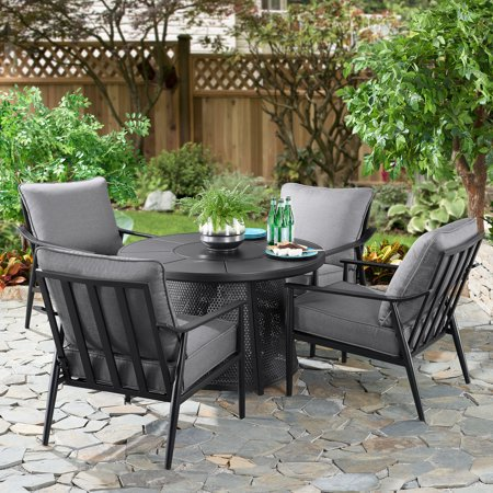 Better Homes & Gardens Acadia 5-Piece Outdoor Fire Pit and Chair Set with Gray Cushions