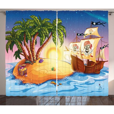Pirate Ship Curtains 2 Panels Set, Ghost Ship on Exotic Sea Near Treasure Island with Palm Trees and Open Chest, Window Drapes for Living Room Bedroom, 108W X 63L Inches, Multicolor, by