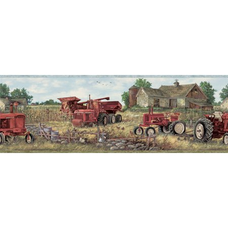 Brewster CTR63161B Oakley Red Countryside Border (Oakley Wallpaper)