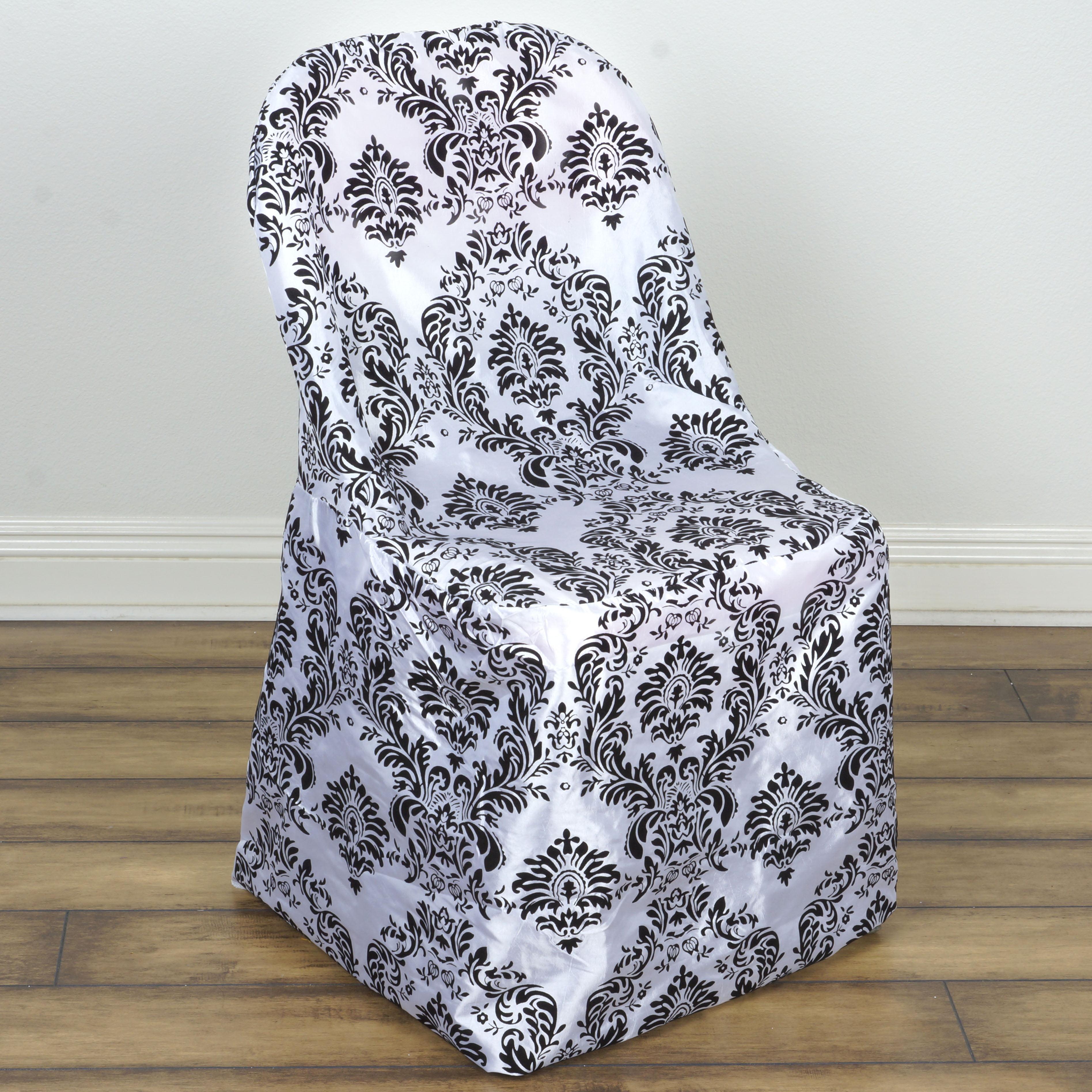 Balsacircle Black White Damask Flocking Folding Chair Cover Party