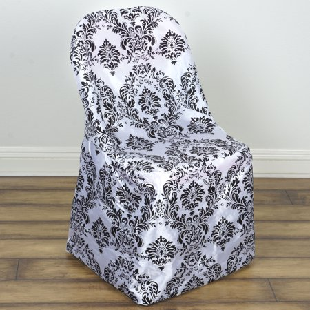 BalsaCircle Black White Damask Flocking Folding Chair Cover - Party Wedding Reception Home Dining Catering Decorations Supplies
