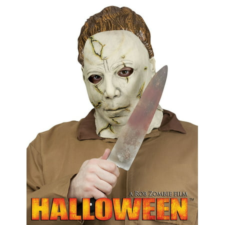 Michael Meyers Mask and Knife Set Adult Halloween - Halloween Cake Knife Blood
