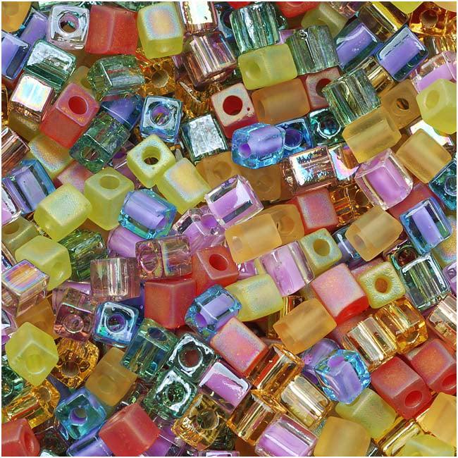 Miyuki 4mm Glass Cube Beads Color Mix Prairie Rainbow 10 Grams