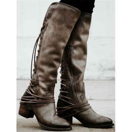 Women Lace Up Knee High Boots Casual Platform Mature Riding (Lace Up Platform Boots)