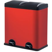 Step N' Sort 16-Gallon 2-Compartment Trash and Recycling Bin - Red