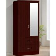 Hodedah Imports 2 Drawer 2 Door Wardrobe with Mirror