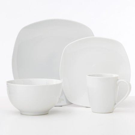 Safdie & Co. 16-Piece Metric Soft Sqaure Porcelain Dinnerware Set, White Antique White Crackle Porcelain