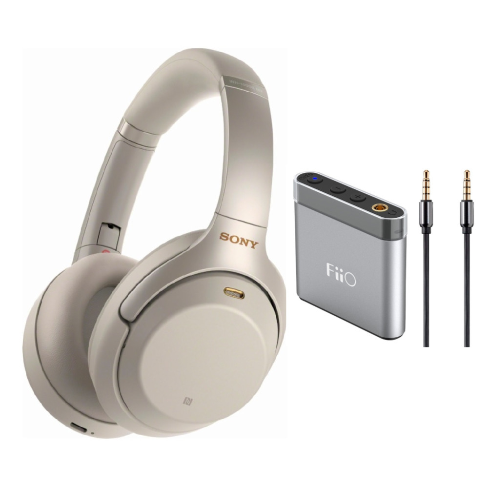 Sony WH1000XM3 Wireless Noise Canceling Headphones (Silver) Bundle