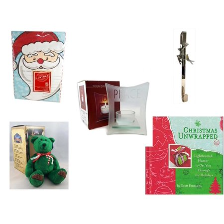 """Christmas Fun Gift Bundle [5 Piece] - Gartner Dear Santa Letter 5 Count - Silver Reindeer Over The Door Wreath Hanger  - Etched Glass """"Peace"""" Window Votive  - Limited Treasures  Edition Green Candyc"""