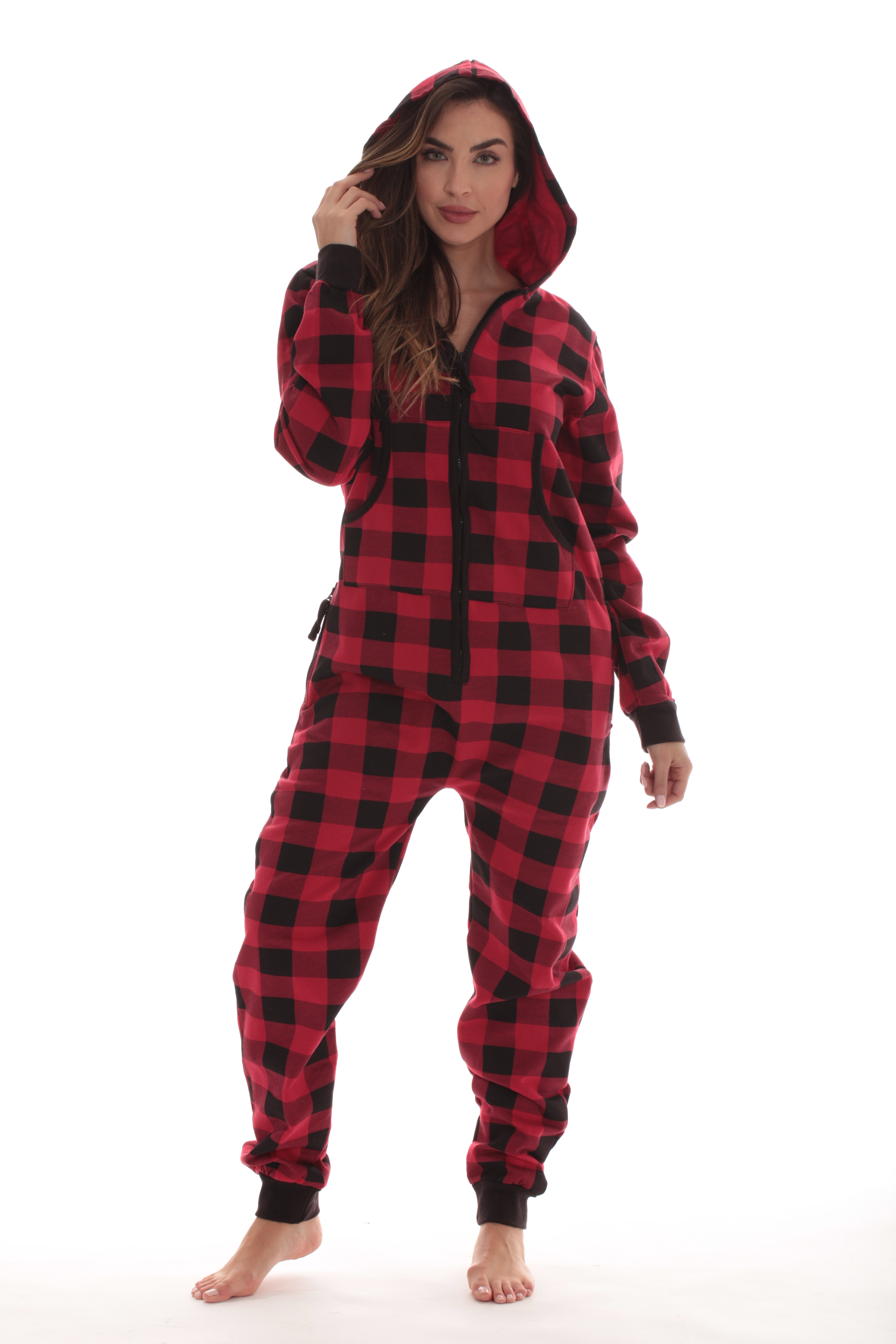 #FollowMe Buffalo Plaid Jumpsuit Adult Onesie Pajamas 6439 ...