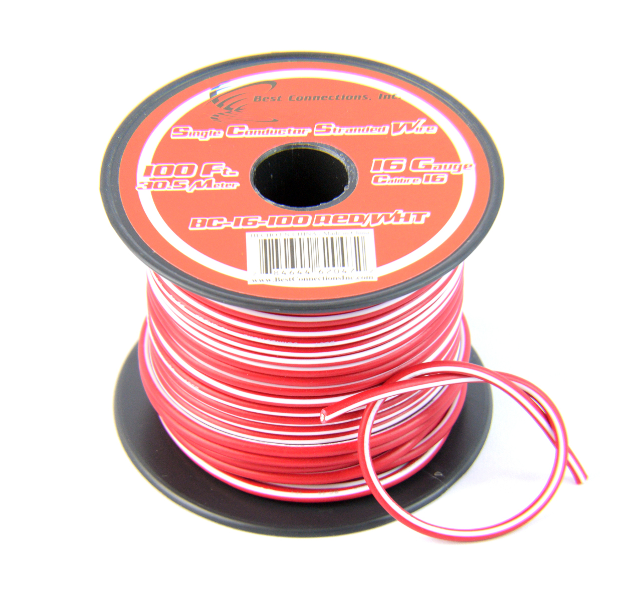 16 Gauge Red with White Stripe Tracer Wire - 100' FT