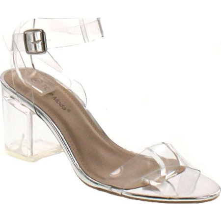 Top Moda Womens Ivan-1 Lucite Clear Strappy Block Chunky High Heel Open Peep Toe -