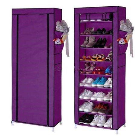 10 Tier 30 Pair Space Saving Storage Organizer Free Standing Shoe Tower Rack