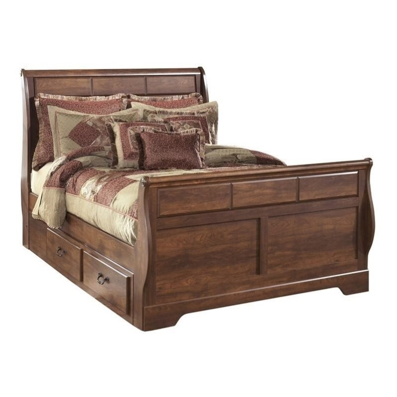 Ashley Timberline Wood Queen Double Drawer Sleigh Bed in Warm Brown by Ashley Furniture