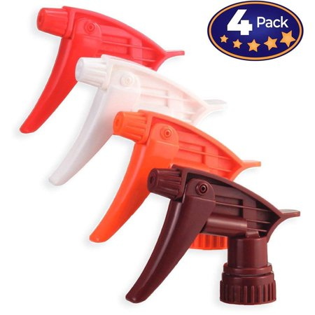 Chemical Resistant Trigger Sprayer (The Mop Mob Chemical Resistant Spray Head 4 Pack. Industrial Sprayer Perfect for Auto/Car Detailing Supply & Janitorial Cleaners. Heavy Duty Low-Fatigue Trigger & Nozzle Replacement Fits 32oz Bottle)