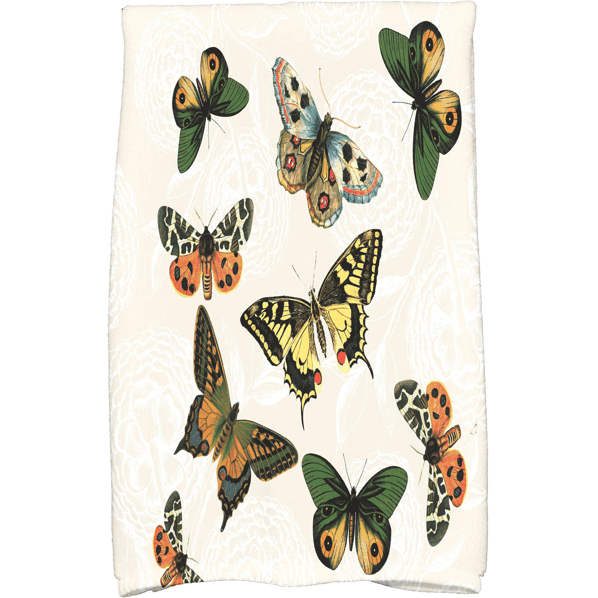 "Simply Daisy 16"" x 25"" Antique Butterflies and Flowers Animal Print Kitchen Towel"