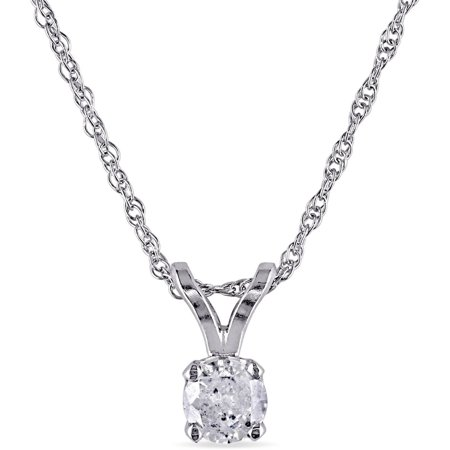 1/6 Carat T.W. Diamond 10kt White Gold Solitaire Pendant, 17