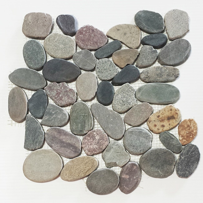 Stanza Mountain Grey Flat Pebble Mesh Tile (Pack of 5)