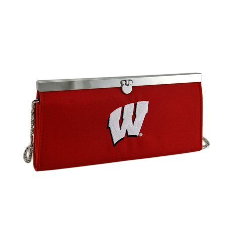 Embroidered Wisconsin Badgers Fabric Clutch Wallet w/Chain Strap ()