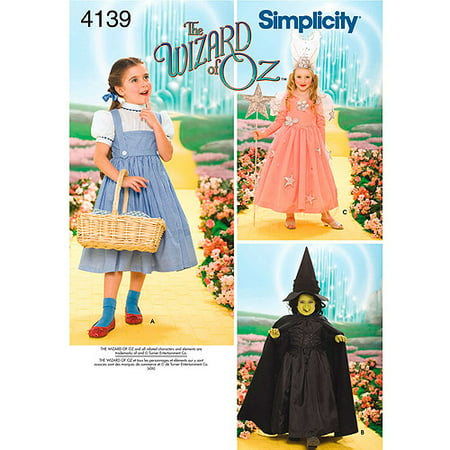 Simplicity Child's Size 3-8 Wizard of Oz Costumes Pattern, 1 Each