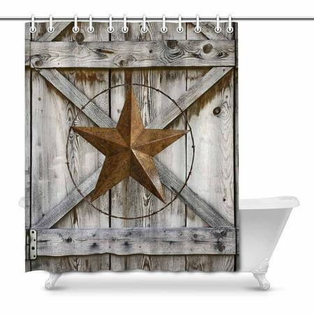 Rustic Texas Star and American Flag On Wood Ca Barn Star RV Shower Curtain