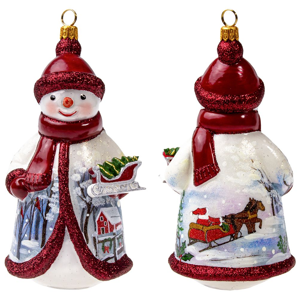 Glitterazzi Red And Silver Snowman Holding Sleigh Polish Glass Ornament Walmart Com Walmart Com