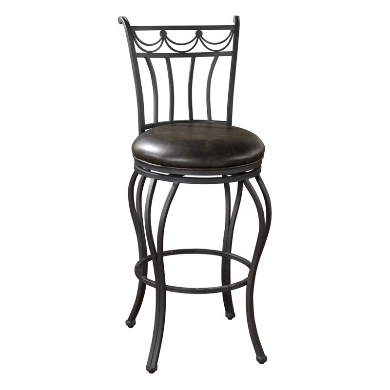 AHB Abella Swivel Counter Stool - Aged Iron with Tobacco Leather