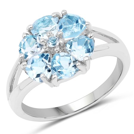 952723493016d 925 Sterling Silver Genuine Blue Topaz Ring (2.96 Carat) Multiple Sizes
