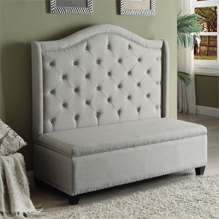ACME Fairly Settee with Storage in Beige Fabric & Espresso ()