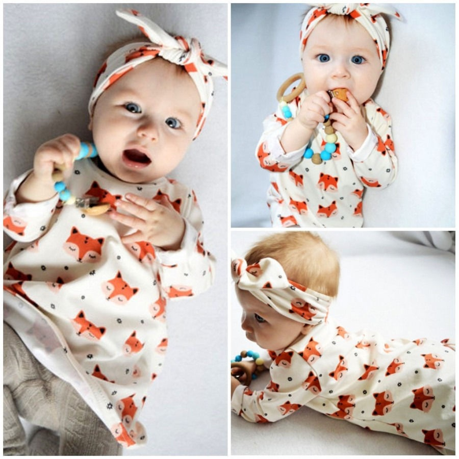 2PCS Newborn Baby Girls Pajamas Cotton Dress+Headband Outfit Cute Fox Set Clothes 0-18M