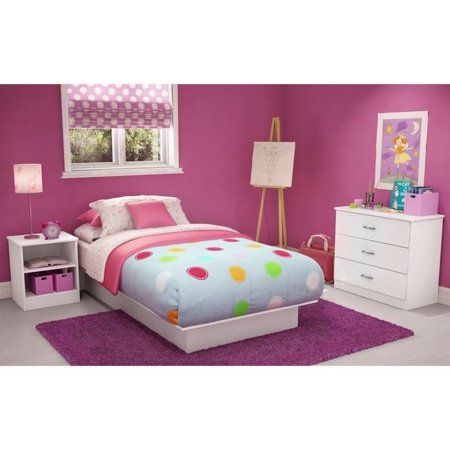 South Shore Libra Kids Pure White Twin Wood Platform Bed 3 Piece Bedroom Set