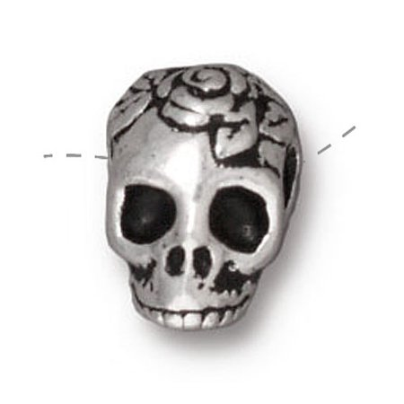 Fine Silver Plated Pewter Skull With Roses Side Drill Spacer Bead 10mm (1) ()