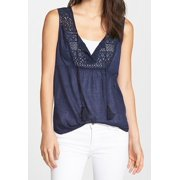 Caslon NEW Navy Blue Women's Size Large L Lace Keyhole Solid Seamed Blouse