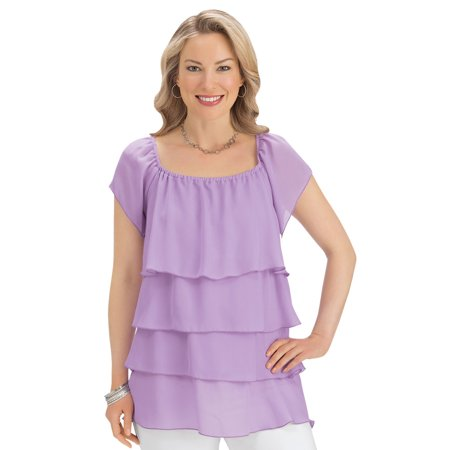 women's chiffon tiered layered ruffle flowy short sleeve blouse top, x-large, aqua ()