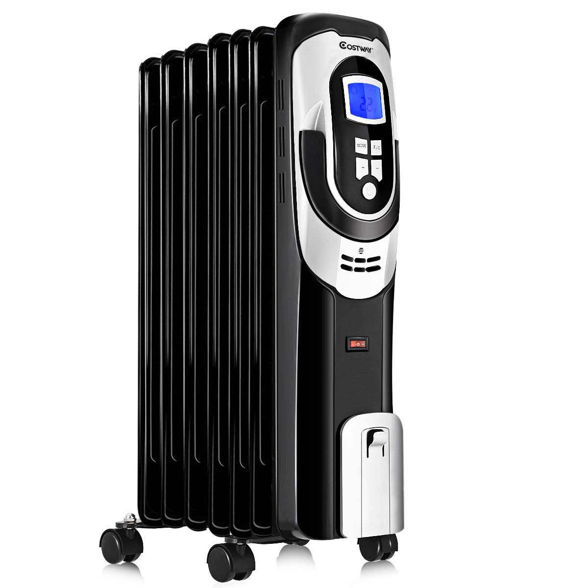 Costway 1500W Electric Oil Filled Radiator Heater LCD 7-Fin Timer Safety Shut-Off