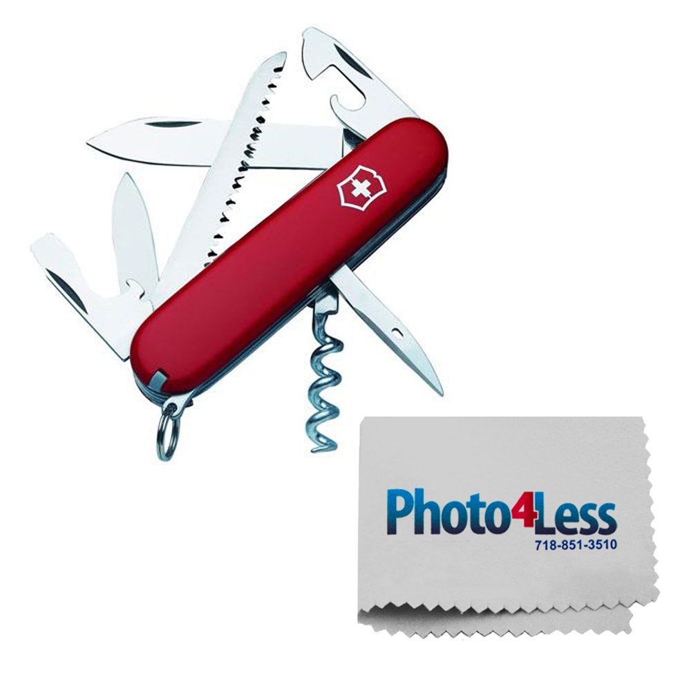 Victorinox Swiss Army Camper Pocket Knife, Red + Photo4less Cleaning Cloth