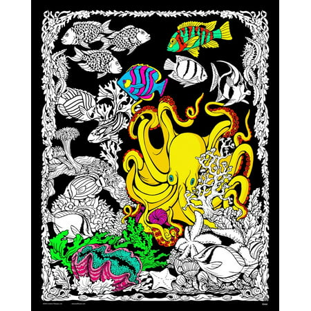 Octopus Den - Fuzzy Velvet Coloring Poster 16x20 Inches - Velvet Art Posters To Color