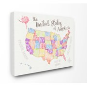 The Kids Room by Stupell United States US Map Water Color Canvas Wall Art by Erica Billups
