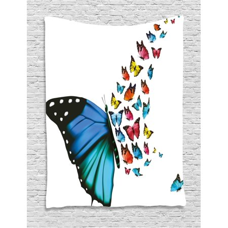 Butterfly Tapestry Wall Hanging - Butterfly Tapestry, Creative Conceptual Artwork Monarch Wings Colorful Realistic Natural Wildlife, Wall Hanging for Bedroom Living Room Dorm Decor, 60W X 80L Inches, Multicolor, by Ambesonne
