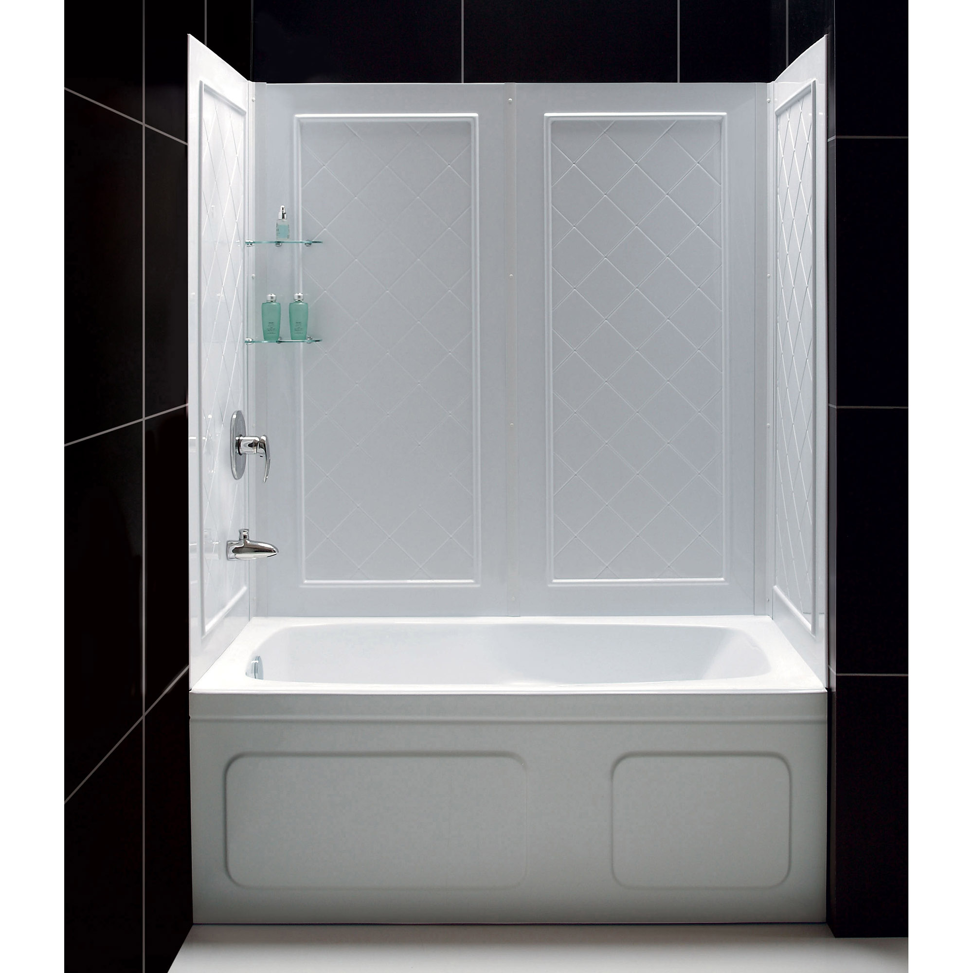 DreamLine QWALL-Tub 56-60 in. W x 28-32 in. D x 60 in. H Acrylic Backwall Kit In White
