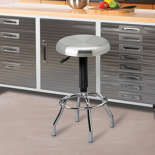 Seville Stainless Steel Pneumatic Work Stool - Stainless Steel Seat - Four-legged Base