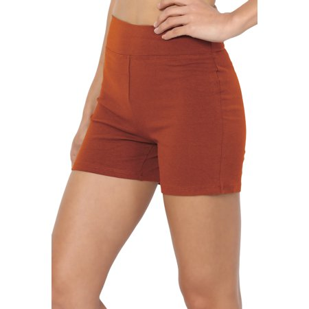 TheMogan Women's S~3XL Cotton Spandex High Waisted Under Short Bike Yoga (Milky Mist)