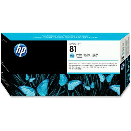 HP 81 Light Cyan DesignJet Dye Printhead and Printhead Cleaner (C4954A) (Single Pack) HP 81 Cyan Printhead/Cleaner - Light Cyan - Inkjet - 1000 (Hp 81 Designjet Dye)