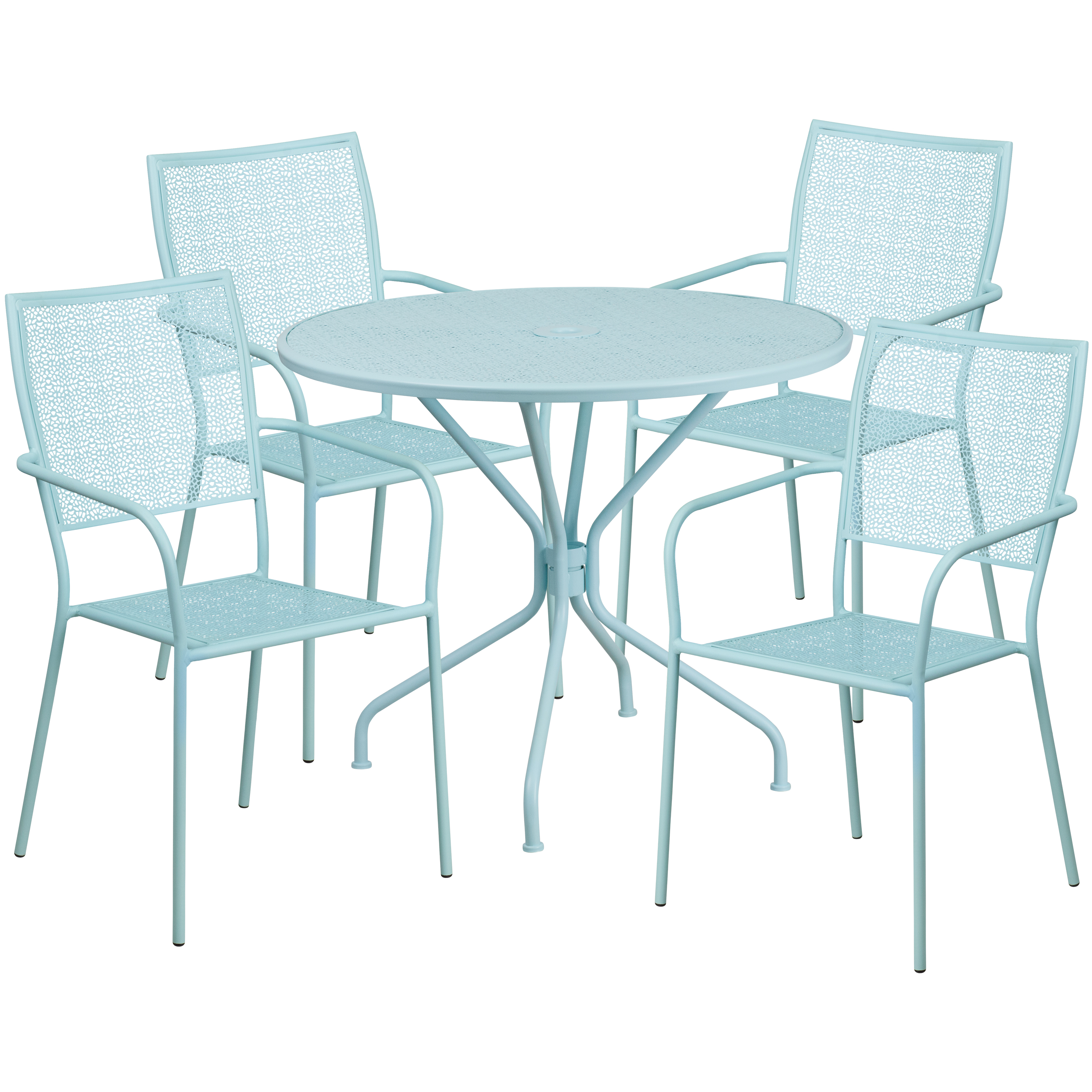 """Flash Furniture 35.25"""" Round Indoor-Outdoor Steel Patio Table Set with 4 Square Back Chairs, Multiple Colors"""
